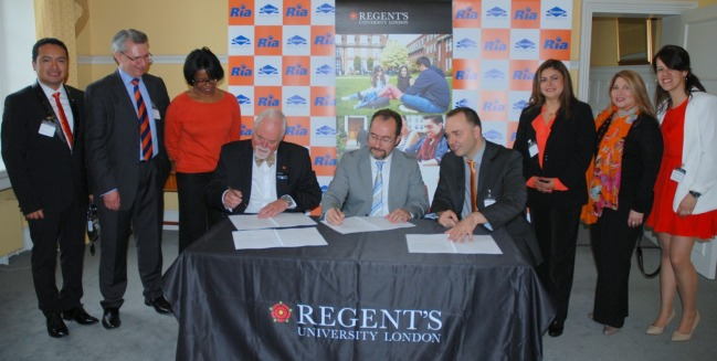 Ria and Regent's University have signed the collaboration agreement