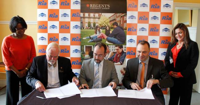 Ria signing agreement with Regent's University